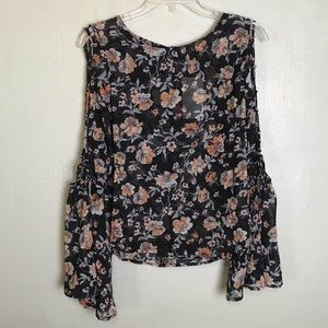 Lily White Bell Sleeved Floral Semi Sheer Top S